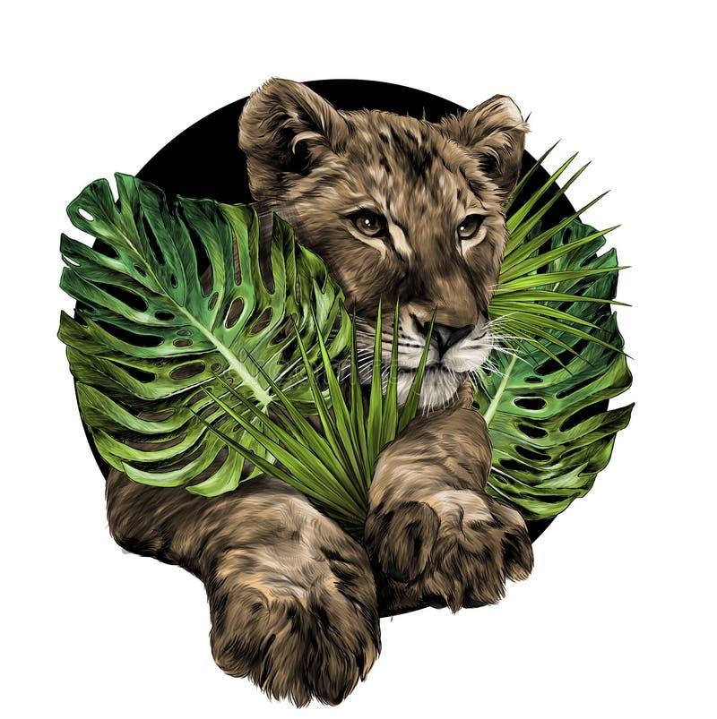a cabeça de um filhote de leão pequeno cercou por plantas tropicais e sae da composição ilustração do vetor