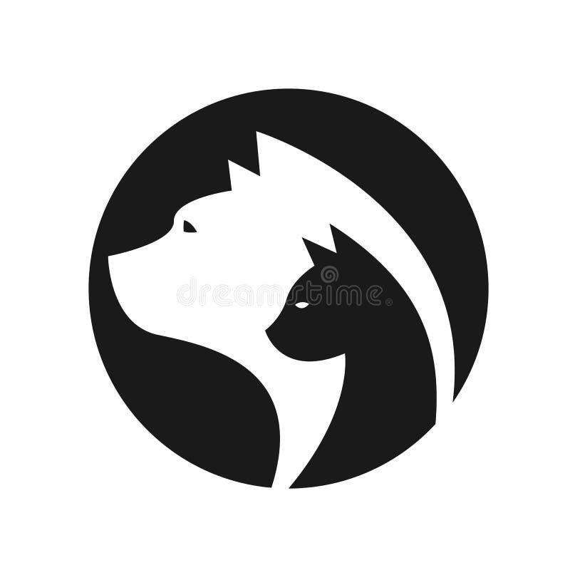 A cabeça de um gato e o cão no vetor do sinal do círculo projetam ilustração do vetor