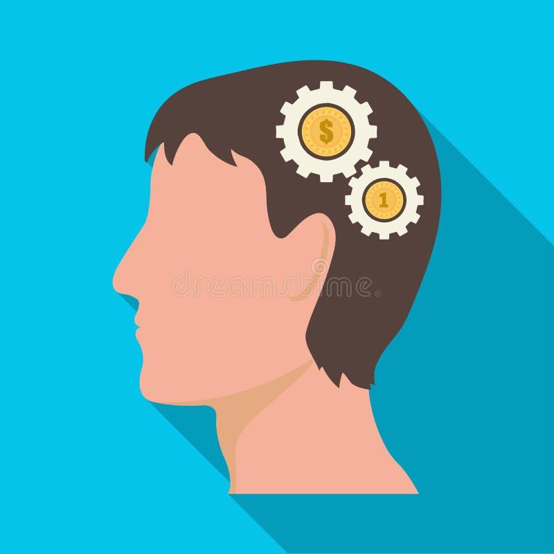 A cabeça de um homem com engrenagens O gerador das ideias e os pensamentos escolhem o ícone no estoque liso do símbolo do vetor d ilustração royalty free