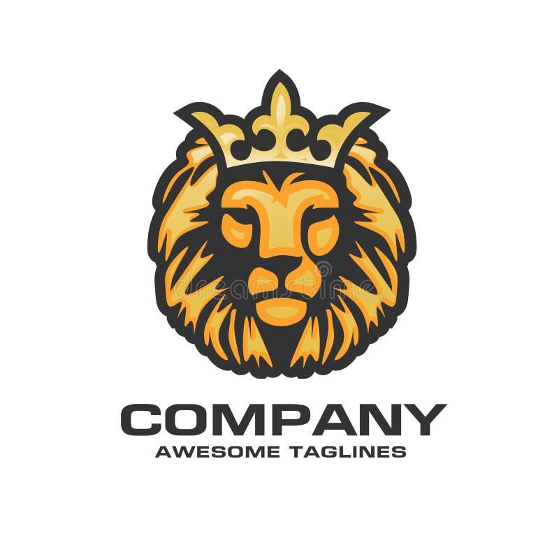 A cabeça de um leão com um logotipo real da coroa ilustração do vetor