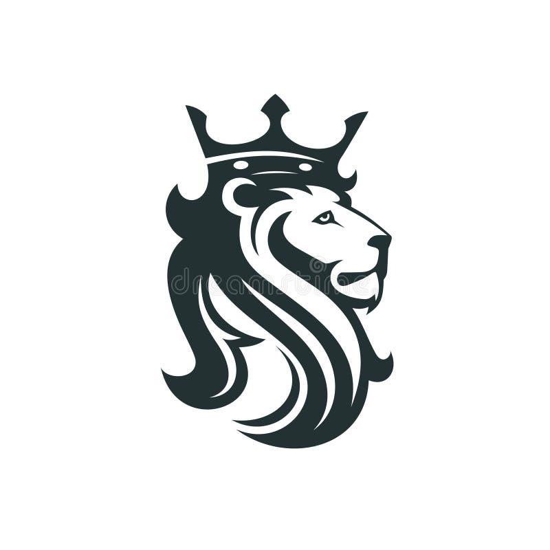 A cabeça de um leão com uma coroa real ilustração royalty free