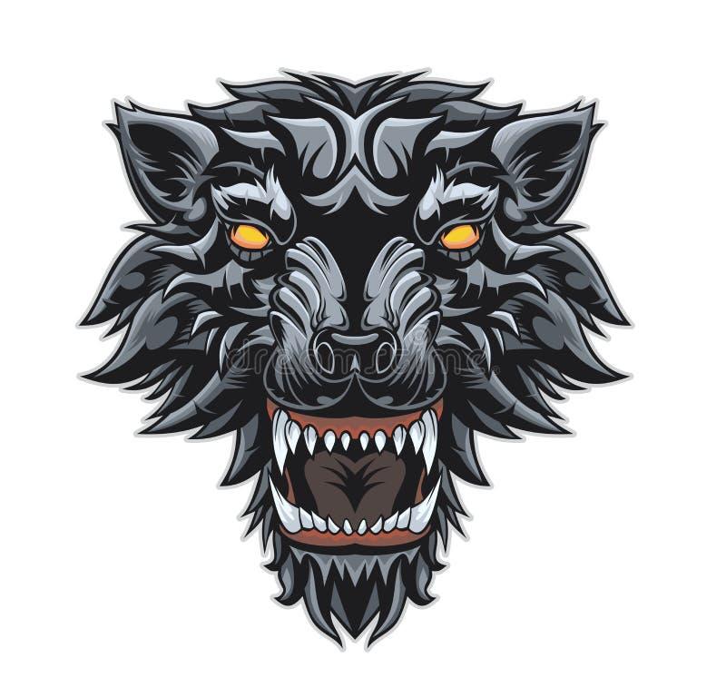 Cabeça de um lobo da rosnadura ilustração stock