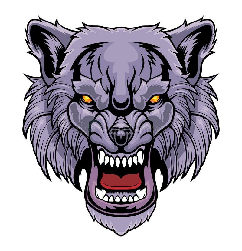 Cabeça de um lobo da rosnadura ilustração do vetor