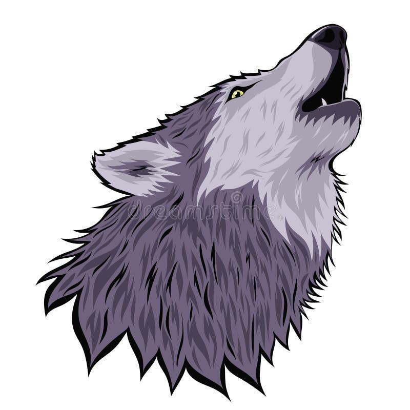 Cabeça de um lobo do urro na lua isolada em um fundo branco Gr?ficos de vetor ilustração do vetor