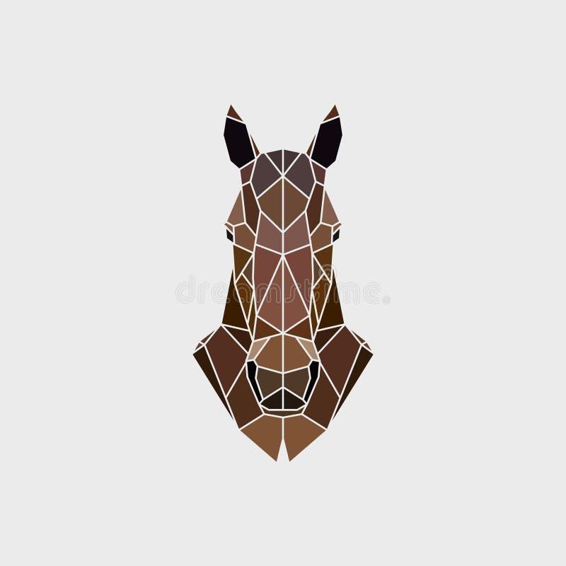 A cabeça de um mustang do cavalo selvagem de um modo de gráficos poligonais ilustração stock