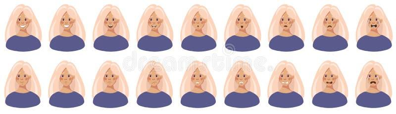 Cabeça de uma moça com emoções diferentes em sua cara, grupo da ilustração do vetor ilustração royalty free