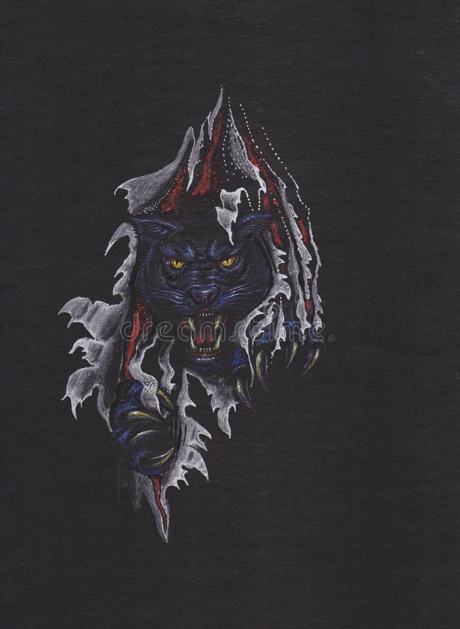 Cabeça de uma pantera preta ilustração royalty free