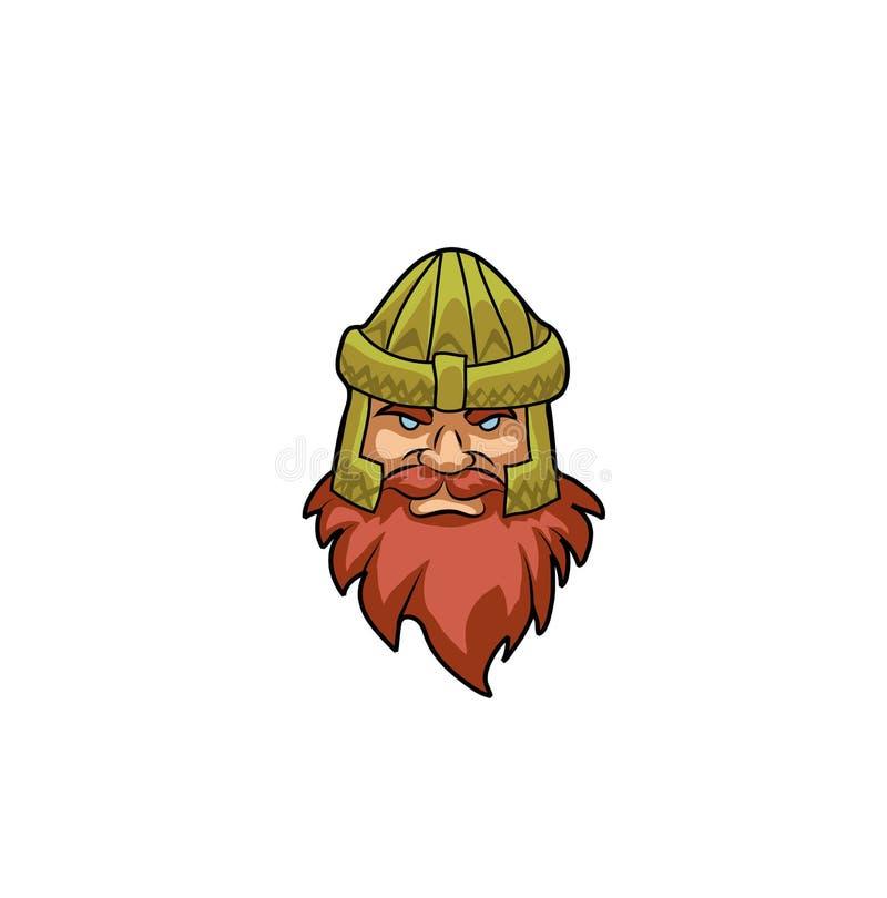 A cabeça do anão em um capacete dourado ilustração royalty free