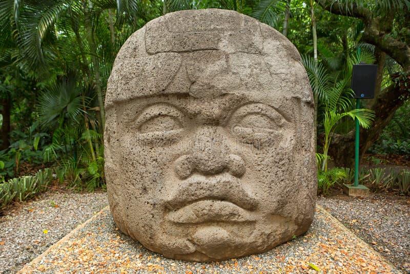 Cabeça do basalto de Olmec em México fotos de stock royalty free
