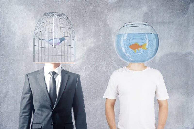 Cabeça do Birdcage e do fishtank fotos de stock