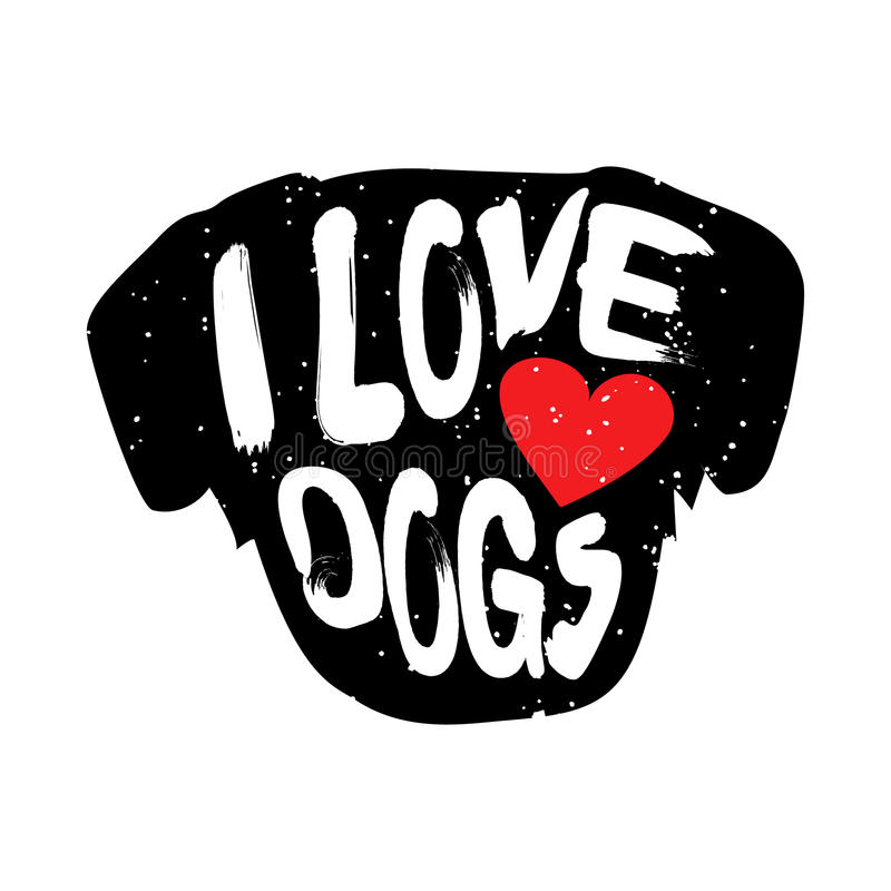 A cabeça do cão com coração e a rotulação text cães do amor de I ilustração stock