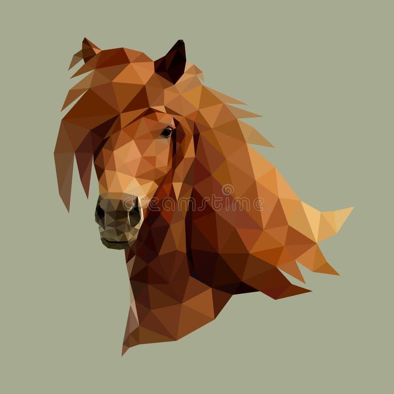 A cabeça do cavalo que consiste em triângulos - vetor Projeto poligonal ilustração stock