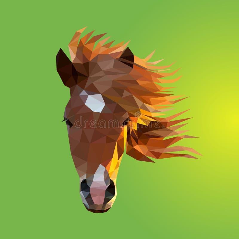 A cabeça do cavalo que consiste em triângulos - vetor Projeto poligonal ilustração do vetor