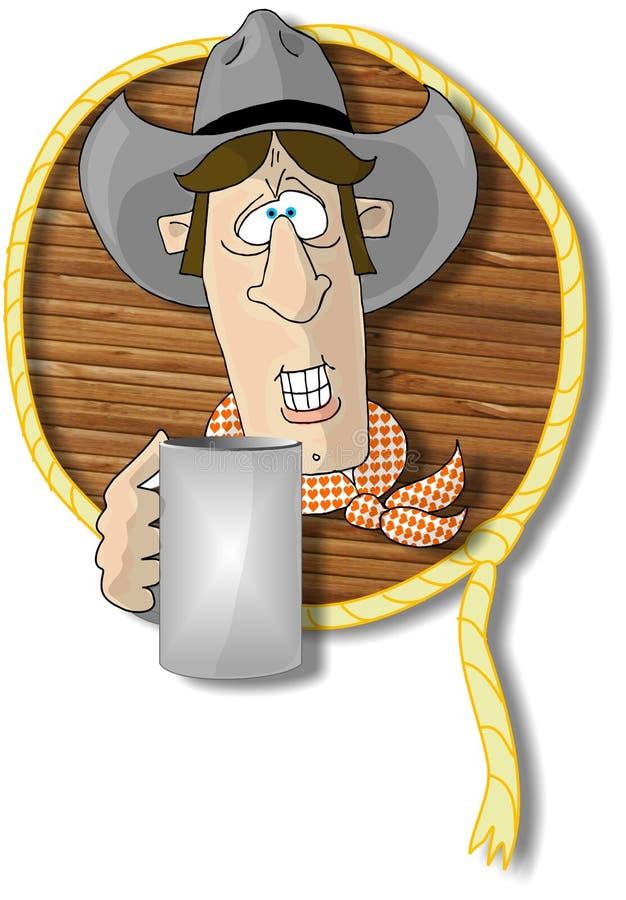 Cabeça do cowboy com uma chávena de café em um frame da corda e da madeira ilustração royalty free
