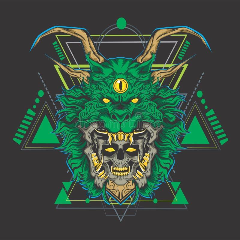 Cabeça do crânio do dragão verde ilustração do vetor