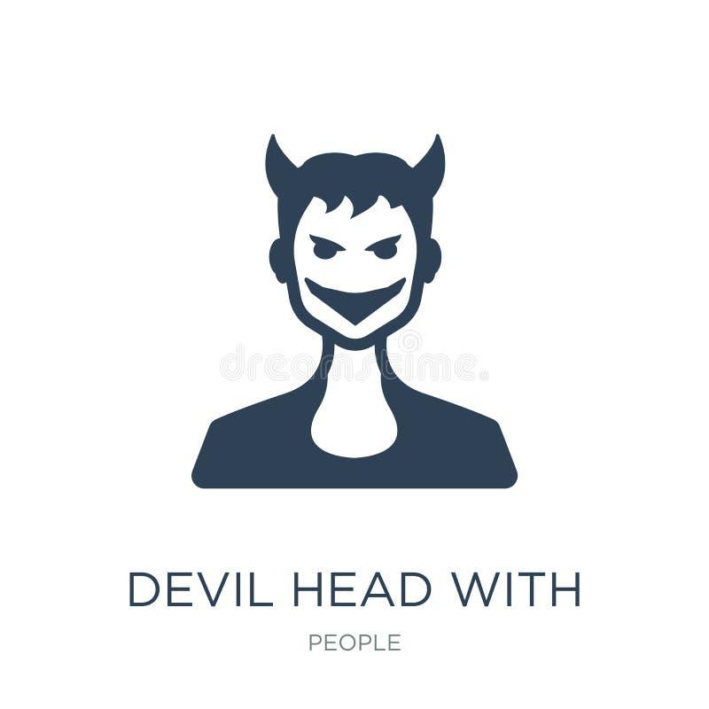 cabeça do diabo com ícone dos chifres no estilo na moda do projeto cabeça do diabo com o ícone dos chifres isolado no fundo branc ilustração royalty free