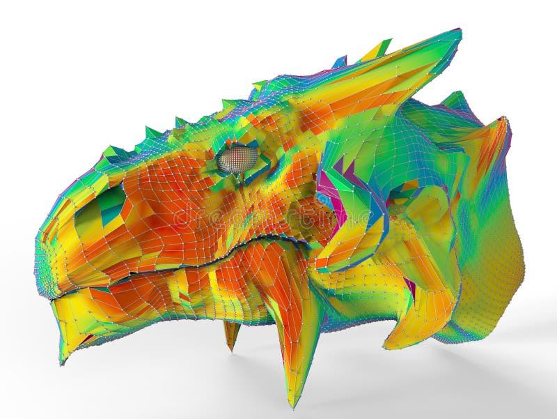 Cabeça do dragão do arco-íris ilustração stock