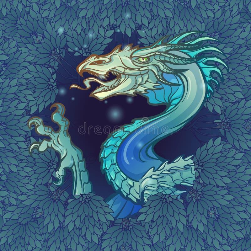 A cabeça do dragão que aparece da folha luxúria da floresta misteriosa escura ilustração stock