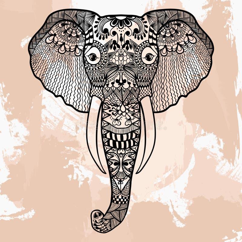Cabeça do elefante, projeto de Zentangle da tatuagem no estilo da garatuja Ornam ilustração royalty free