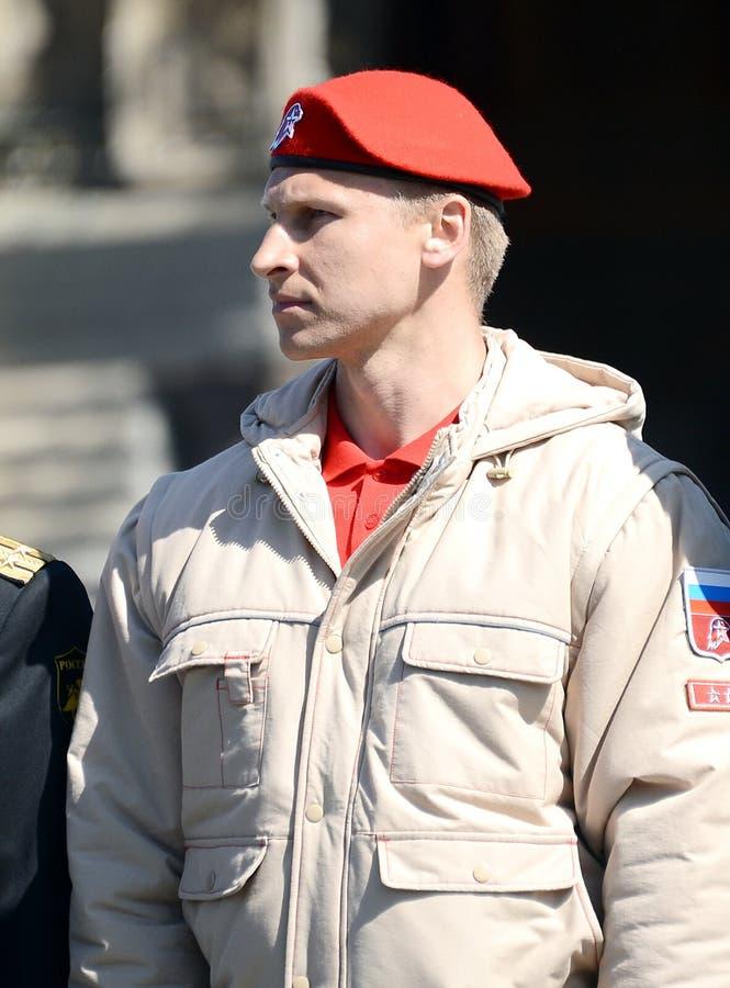 Cabeça do estado maior geral do movimento Militar-patriótico da juventude da equipe Dmitry Trunenkov do ` de Unarmy do ` durante  imagens de stock royalty free