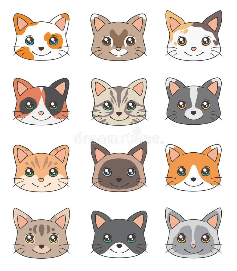 Cabeça do estilo dos desenhos animados de desenhos diferentes do vetor da raça do gato doméstico ilustração stock