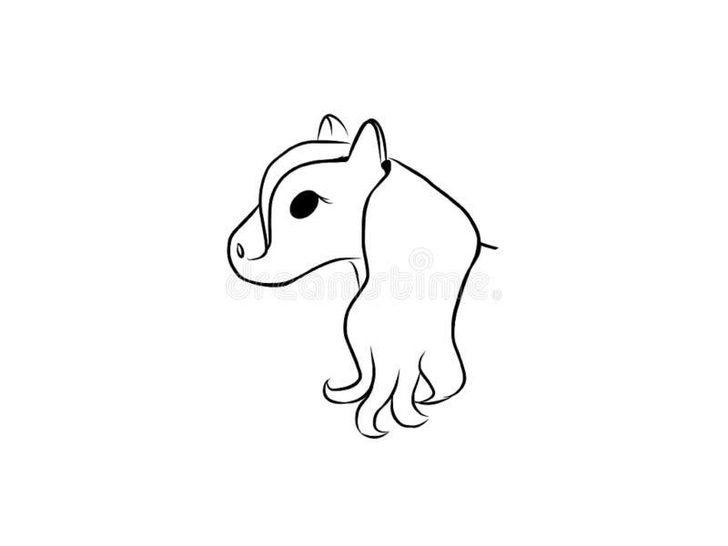 Cabeça do fundo branco dos desenhos animados do cavalo ilustração do vetor