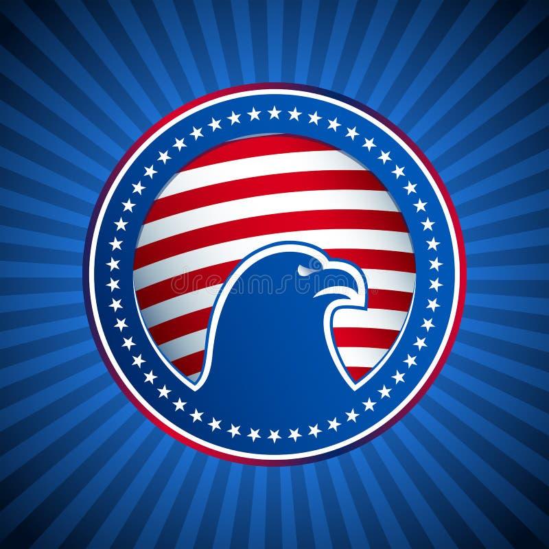 Cabeça do fundo de Eagle E.U. América da bandeira da medalha ilustração royalty free