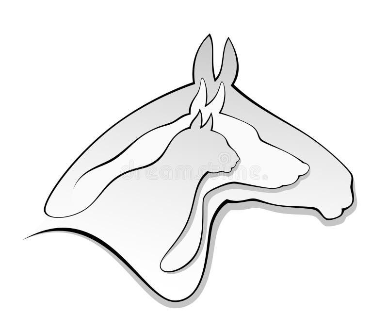 Cabeça do gato do cão do cavalo ilustração stock