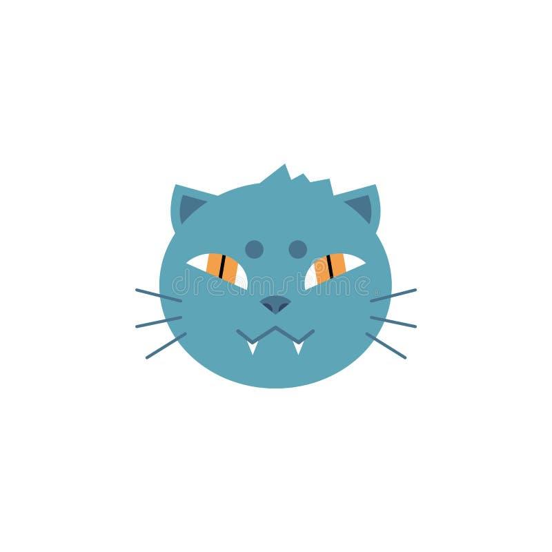 Cabeça do gato doméstico com pele cinzenta e sorriso toothy no estilo liso isolada no fundo branco ilustração stock