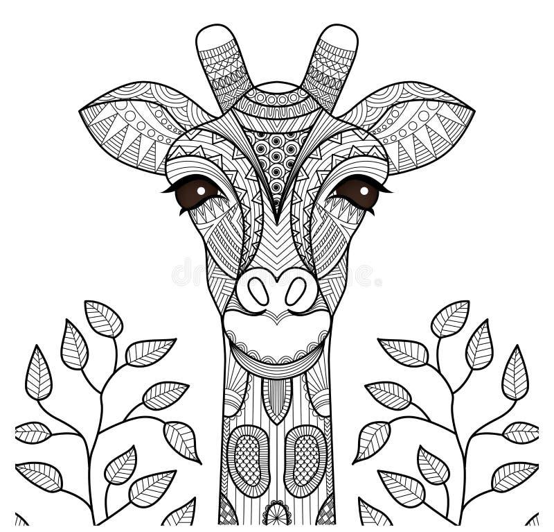 Cabeça do girafa de Zentangle ilustração stock