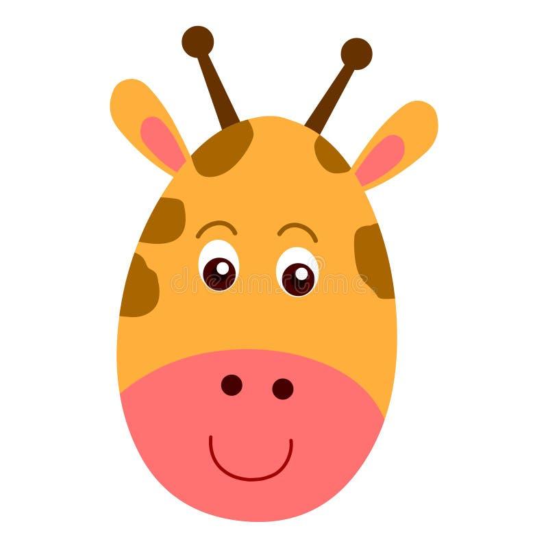 Cabeça do girafa dos desenhos animados, cabeça animal Girafa principal animal da etiqueta ilustração stock