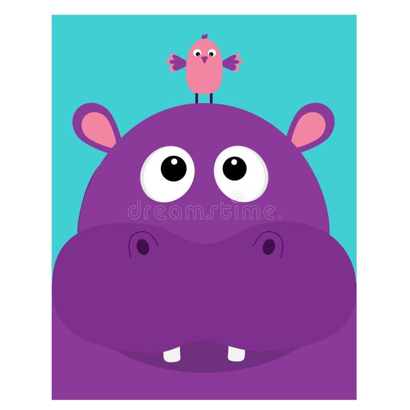 Cabeça do hipopótamo que facelooking até o pássaro Hipopótamo bonito do personagem de banda desenhada com dente Ícone violeta do  ilustração royalty free