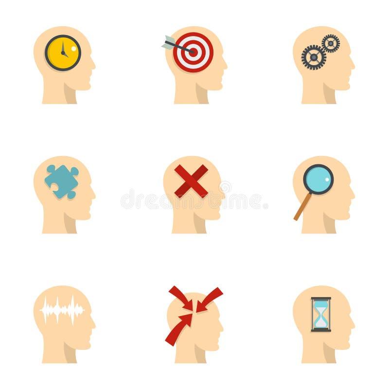A cabeça do homem com ícones do sinal ajustou-se, estilo liso ilustração stock