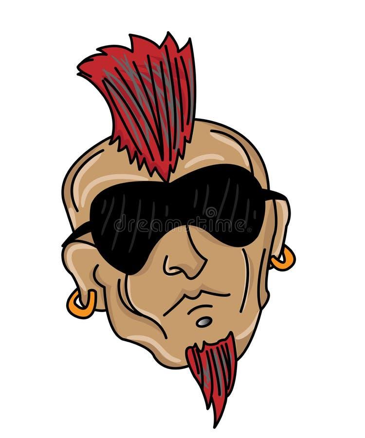 Cabeça do homem com penteado do Mohawk ilustração do vetor