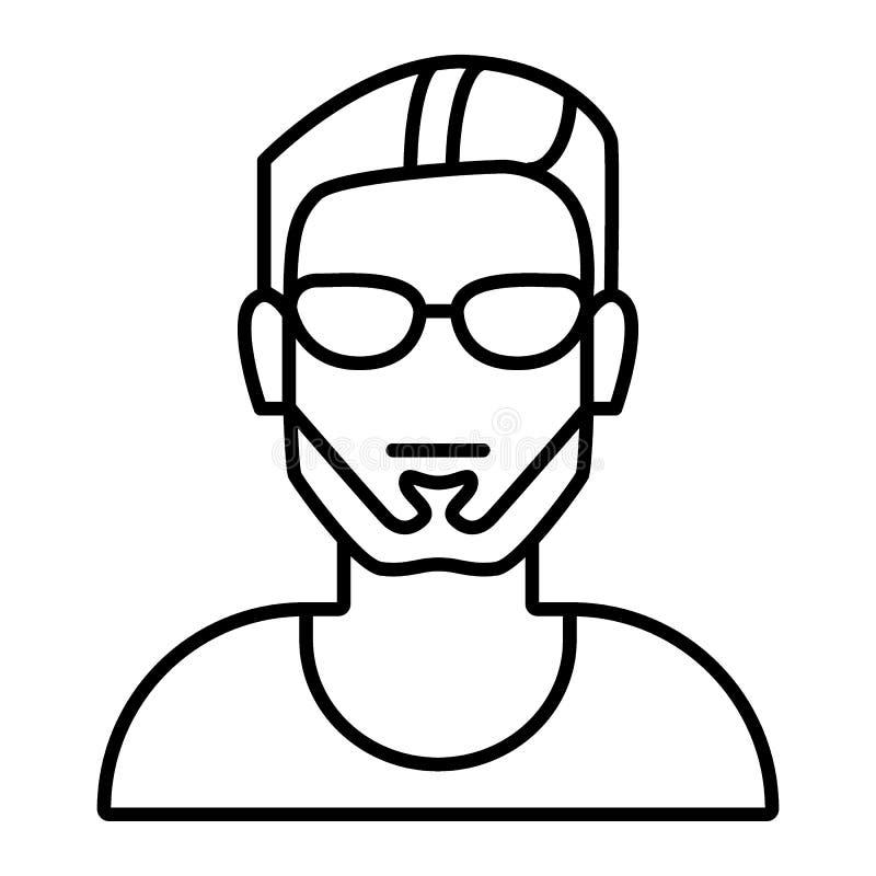 A cabeça do homem com vidros dilui a linha ícone Avatar masculino com a ilustração do vetor da barba isolada no branco Esboço da  ilustração royalty free