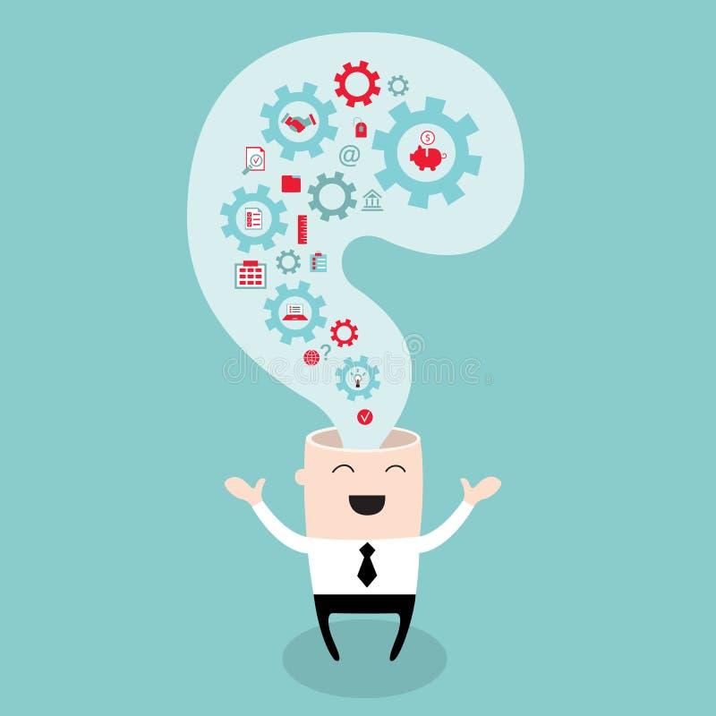Cabeça do homem de negócios com os pensamentos e as ideias das engrenagens ilustração stock