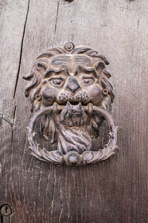 Cabeça do leão, aldrava de porta na porta de madeira velha imagem de stock