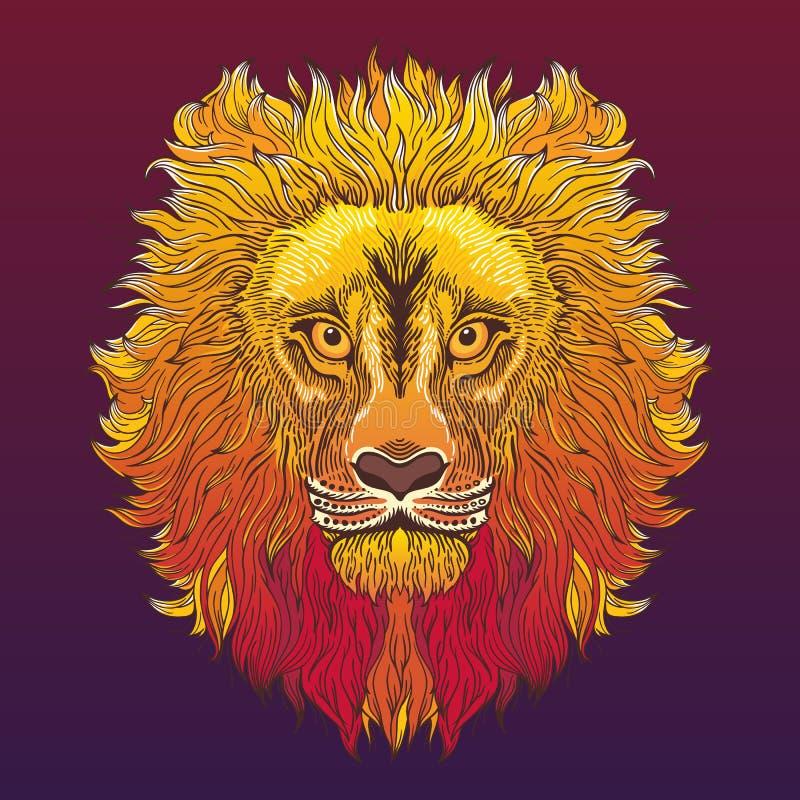 Cabeça do leão Ilustração do vetor no estilo étnico ilustração do vetor