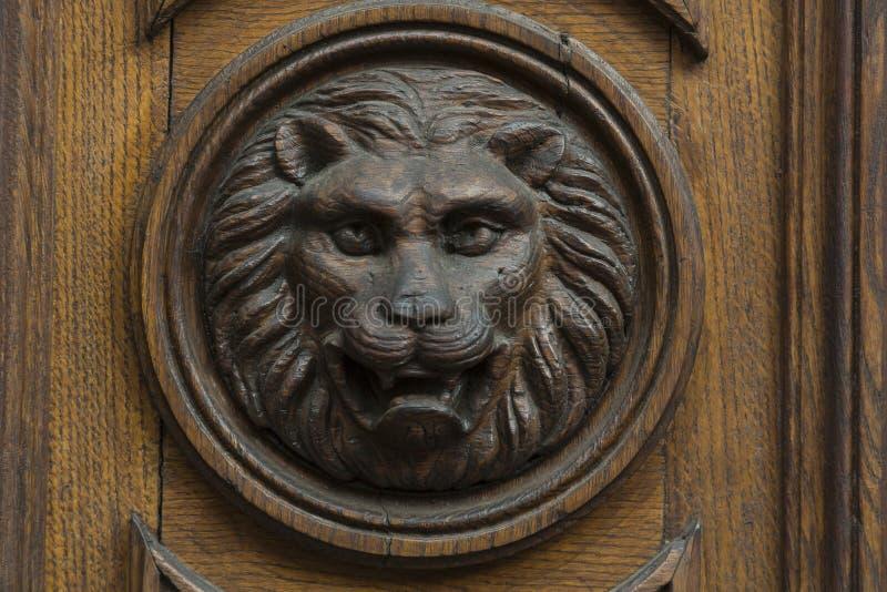 Cabeça do leão na porta fotos de stock