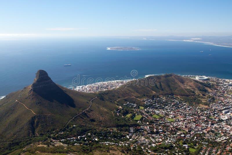 A cabeça do leão, o monte do sinal e a ilha de Robben fotos de stock royalty free