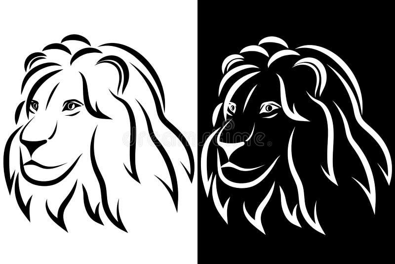 Cabeça do leão Silhueta preto e branco logo Ilustração do vetor ilustração stock