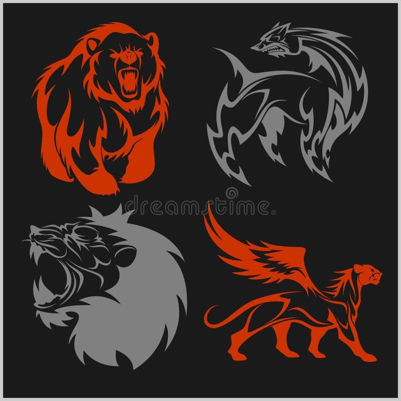 Cabeça do leão, tatuagens do urso do fyl do grifo e projetos ilustração royalty free