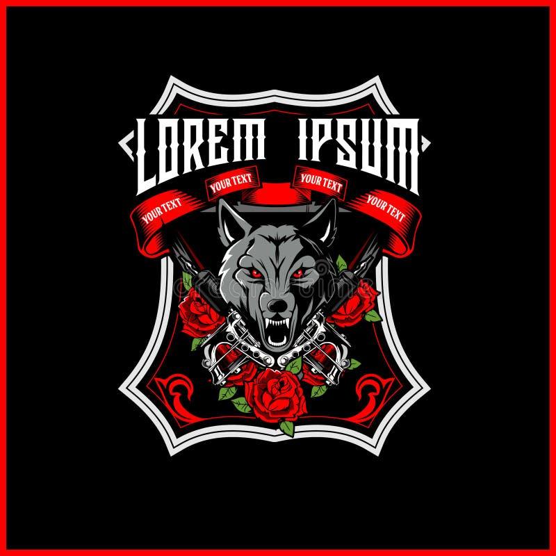 Cabeça do lobo com vetor da máquina e da rosa da tatuagem ilustração royalty free