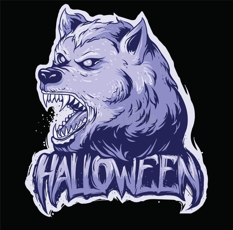 Cabeça do lobo e texto do Dia das Bruxas ilustração stock