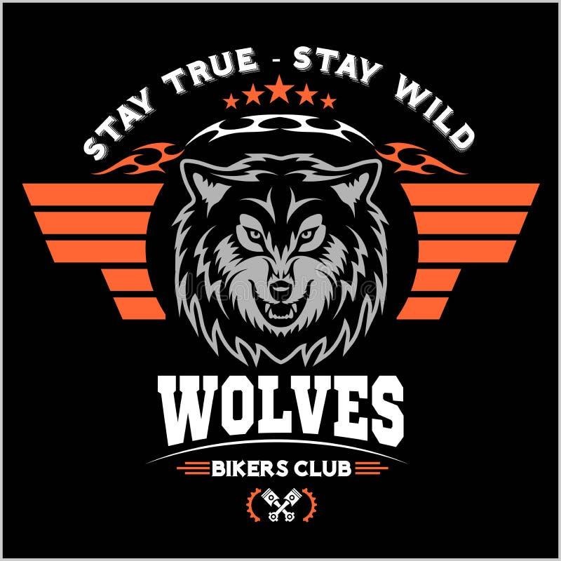 Cabeça do lobo para o logotipo, símbolo americano, ilustração simples, emblema da equipe de esporte, elementos do projeto ilustração stock