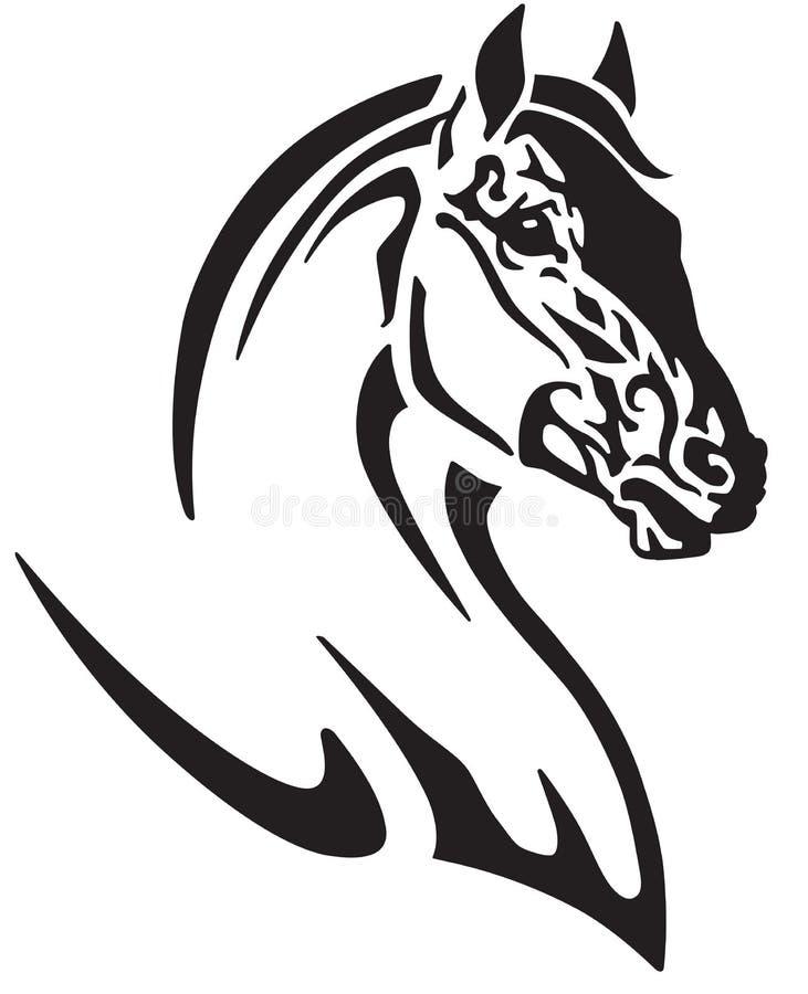 Cabeça do logotipo preto e branco do cavalo ilustração do vetor