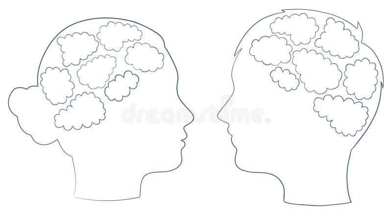 Cabeça do menino e da menina com molde do pensamento ilustração do vetor