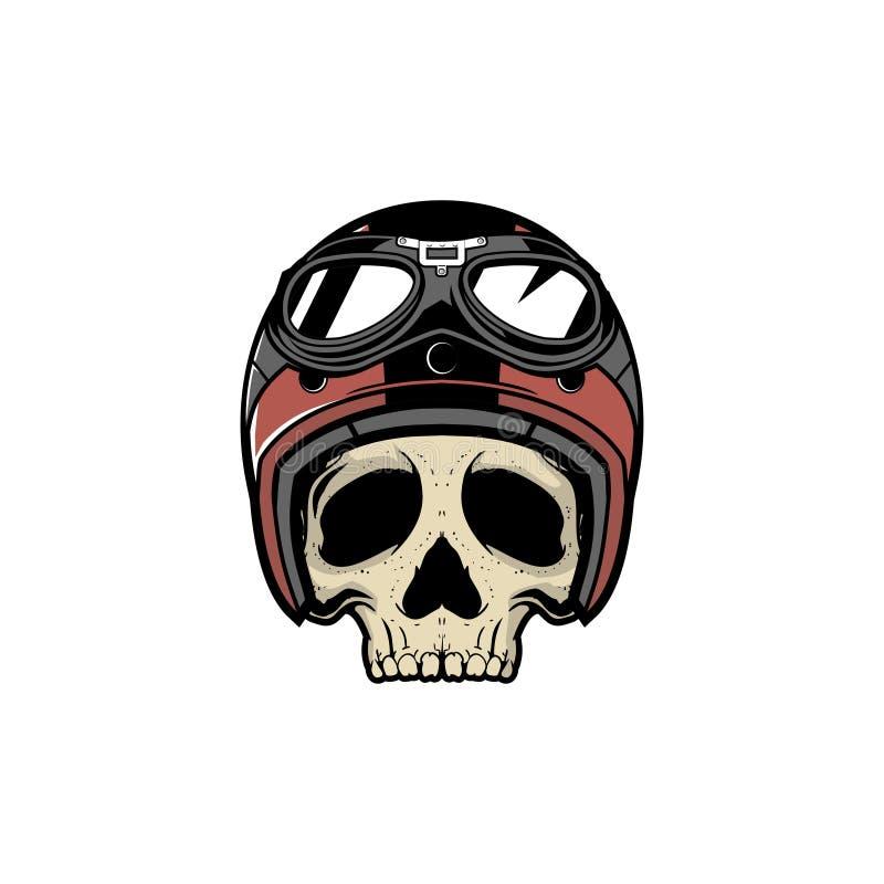 Cabeça do motociclista do crânio da velha escola com vetor da motocicleta do capacete ilustração royalty free