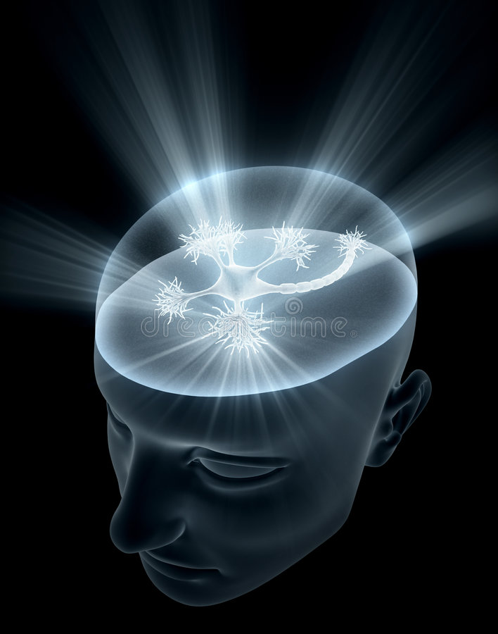 Cabeça do neurônio ilustração stock