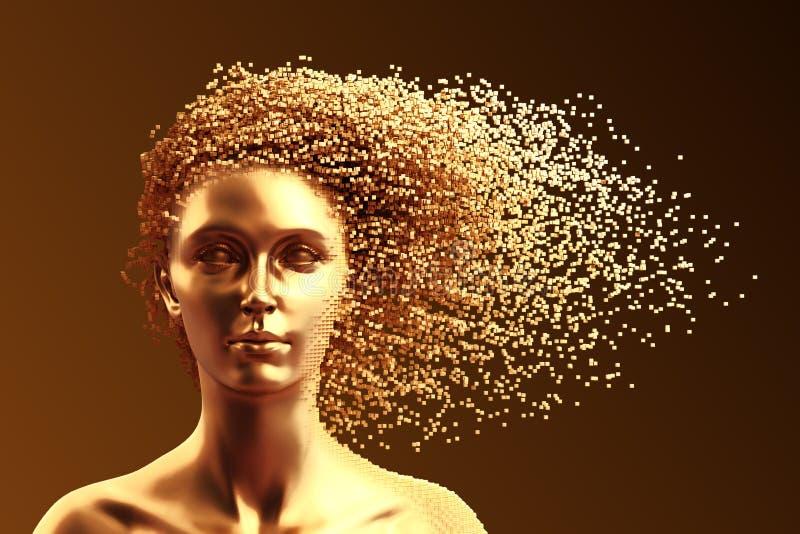Cabeça do ouro da jovem mulher e dos pixéis 3D como o cabelo no fundo de Brown ilustração royalty free